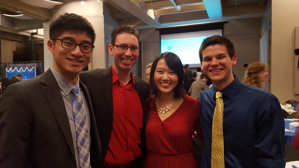 JHU BMES Winter Social 2015 - Ka Ho Nicholas Cheung, Dr. Jordan Green, Qiuyin Ren, James Shamul